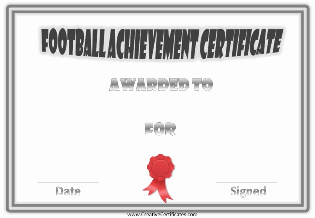 Football Certificate Template Word Unique 28 Of Football Certificate Achievement Template
