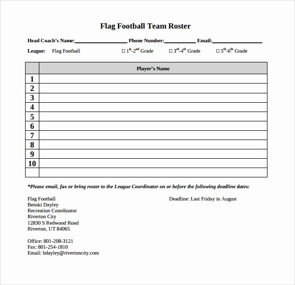 Football Depth Chart Templates Best Of Sample Football Roster Template 9 Free Documents