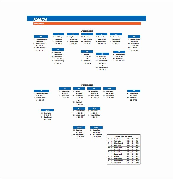 Football Depth Chart Templates Inspirational 13 Football Depth Chart Template Free Sample Example
