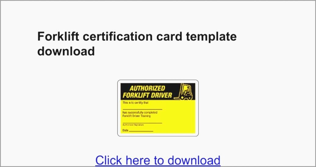 Forklift Certificate Template Free Lovely Versatile Free Printable forklift Certification Cards