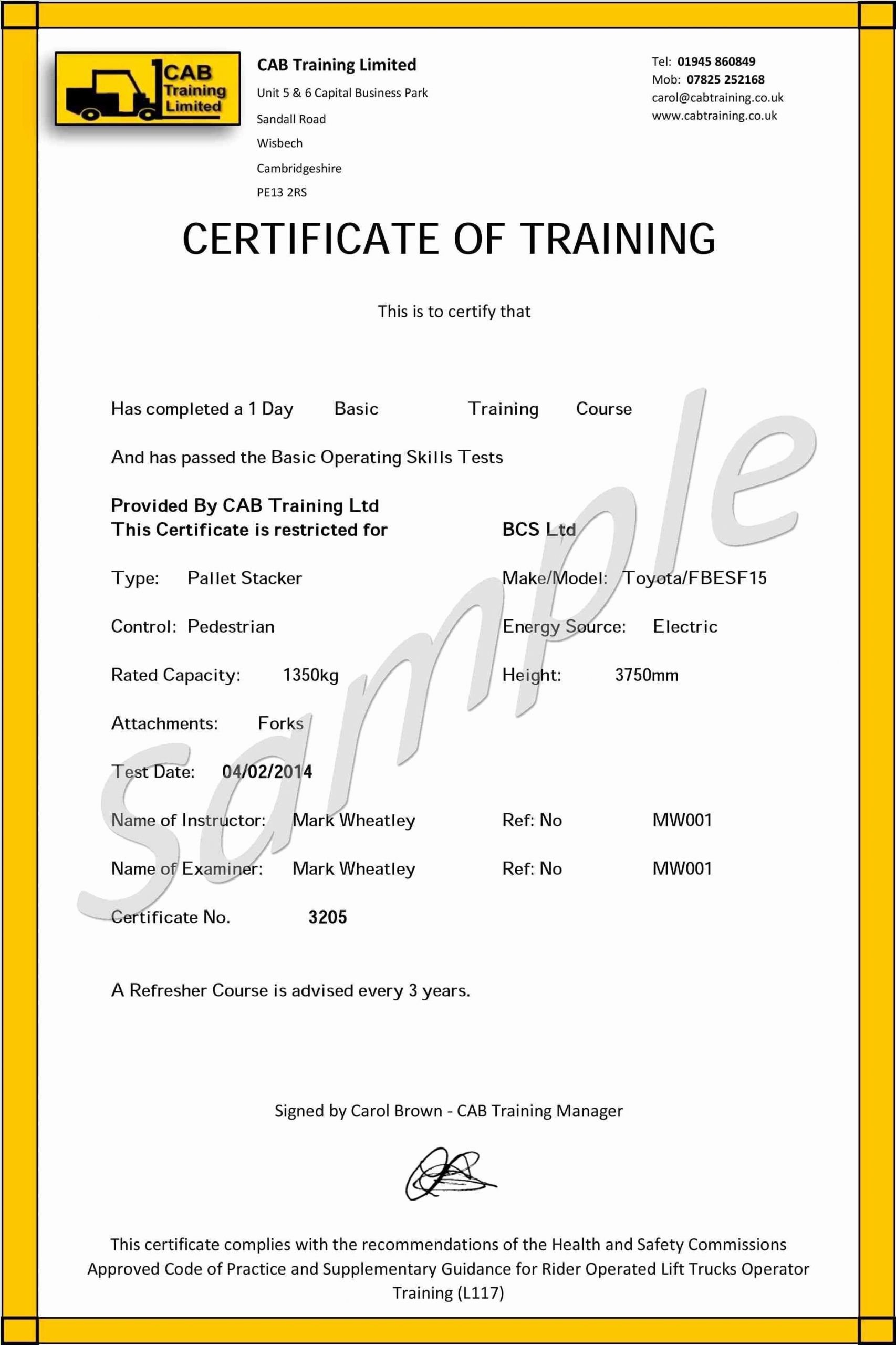 Forklift Training Certificate Template Best Of forklift Training Certificate Template Free