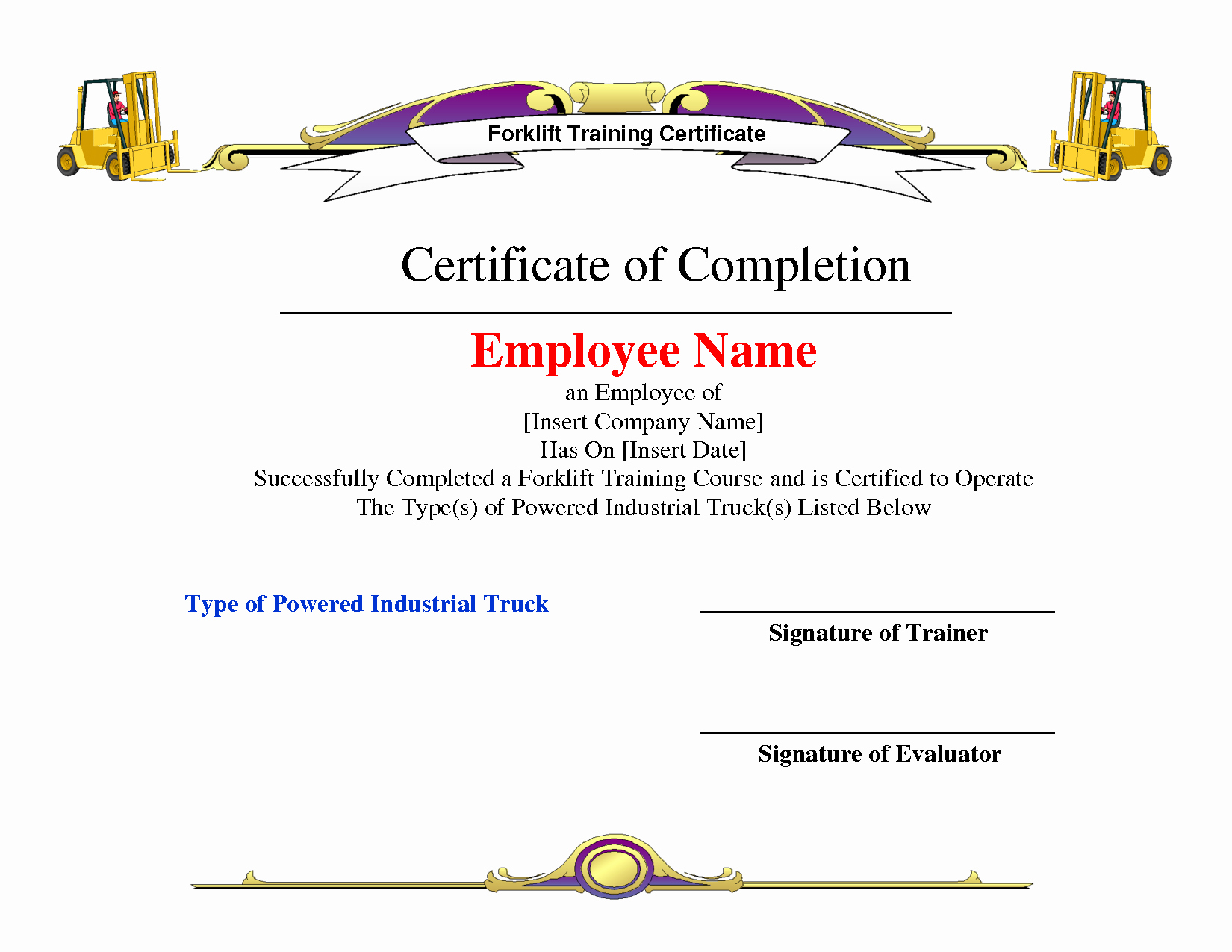 Forklift Training Certificate Template Elegant Certificate Template Category Page 13 Efoza