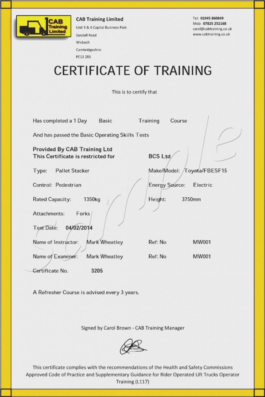 Forklift Training Certificate Template Free Awesome forklift Certification Certificate Template