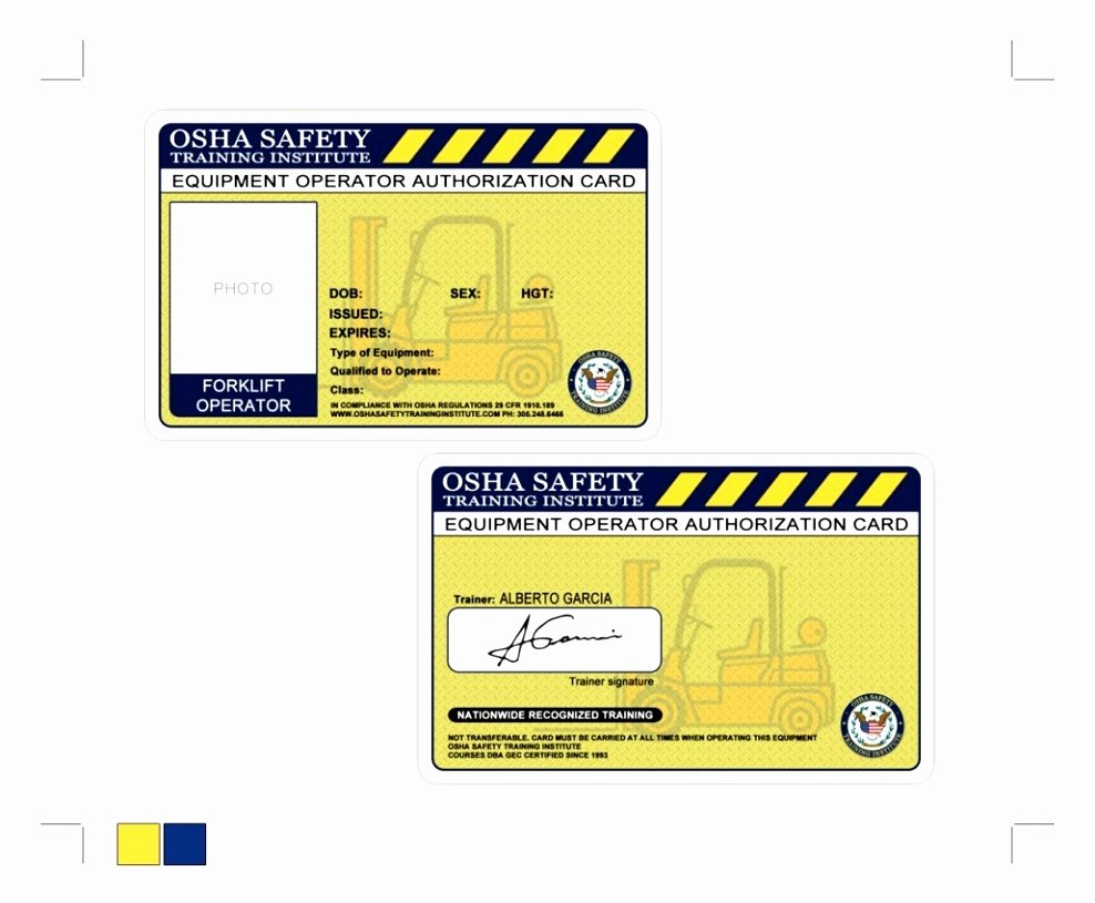 Forklift Training Certificate Template Free Beautiful forklift Certification Wallet Card Template