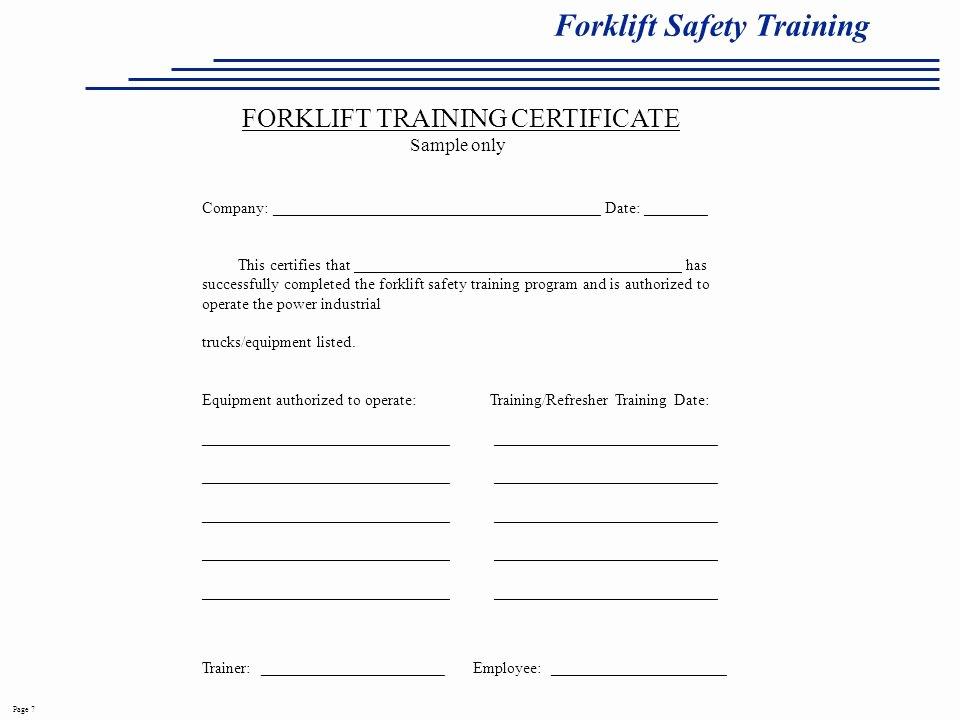 Forklift Training Certificate Template Free Lovely 26 Of fork Lift Written Safety Program Template