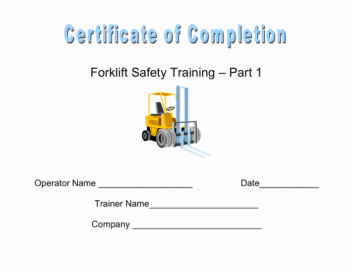 Forklift Training Certificate Template New Certificate Of Pletion In Word and Pdf formats