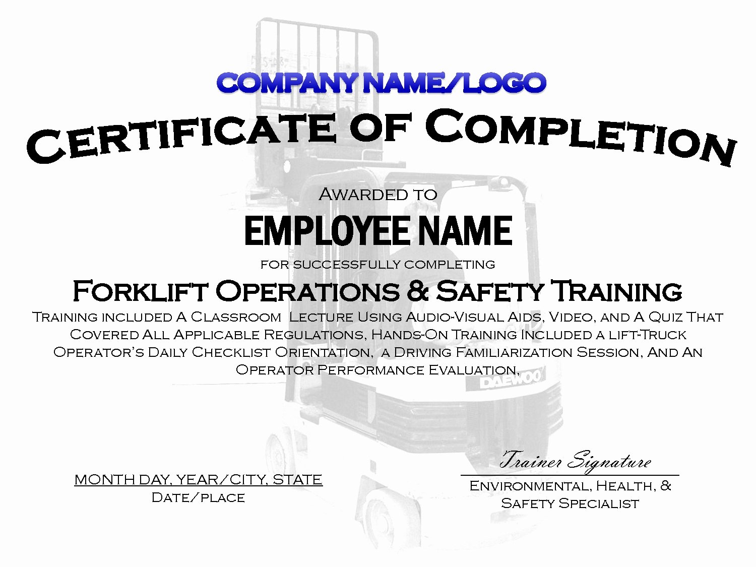 Forklift Training Certificate Template Unique forklift Train the Trainer Certification Clean 9 Best