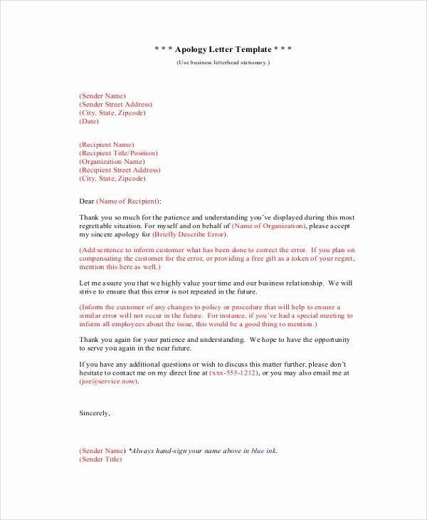 Formal Apology Template Awesome Sample formal Apology Letter 7 Documents In Pdf Word