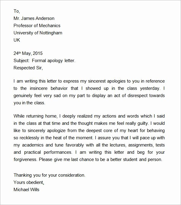 Formal Apology Template Beautiful 9 formal Letters