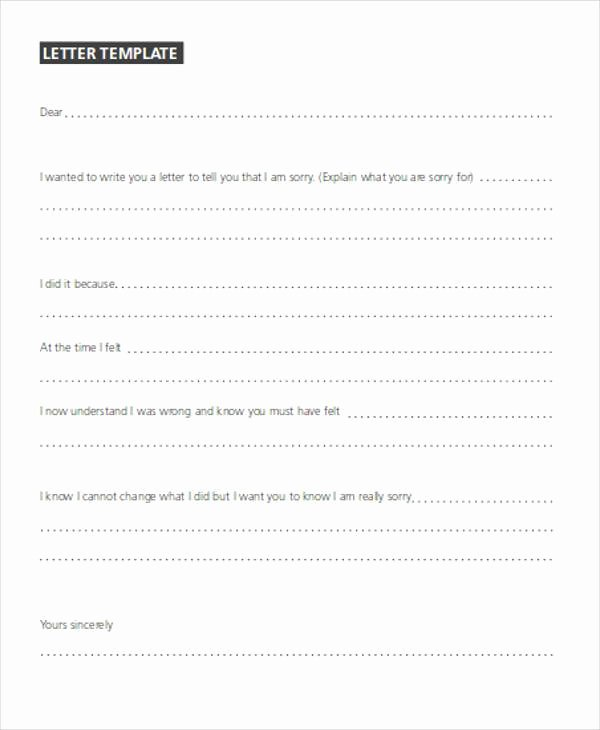 Formal Apology Template Elegant formal Apology Letters