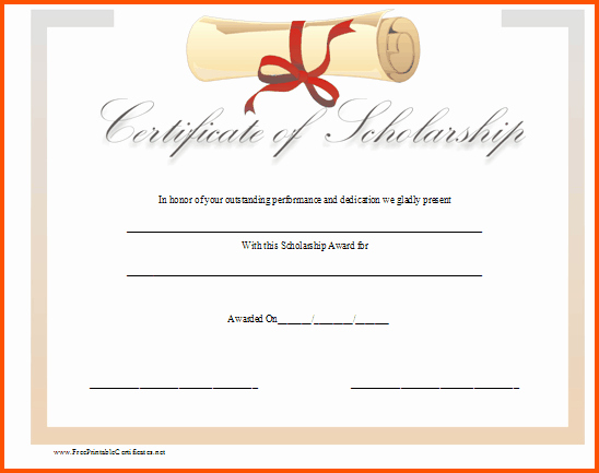 Formats for Scholarship Certificates Best Of 12 Scholarship Certificate Template
