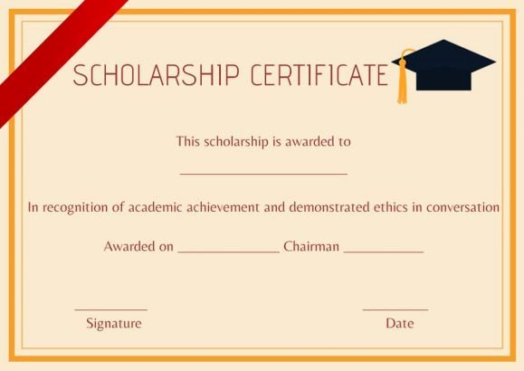Formats for Scholarship Certificates Elegant High School Scholarship Certificate Template