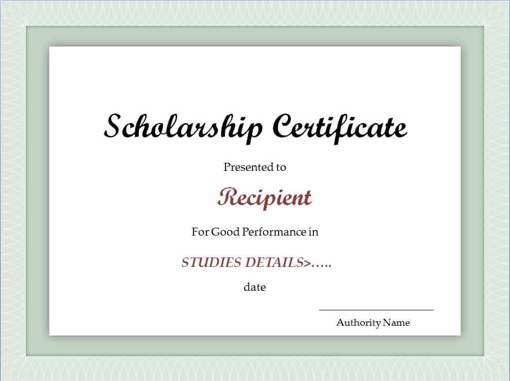 Formats for Scholarship Certificates Elegant Scholarship Certificate Template Excel Xlts