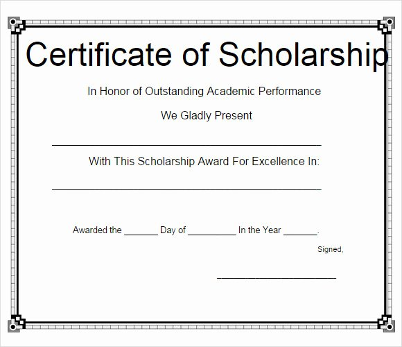 Formats for Scholarship Certificates Lovely Free 9 Scholarship Certificate Templates In Free Samples