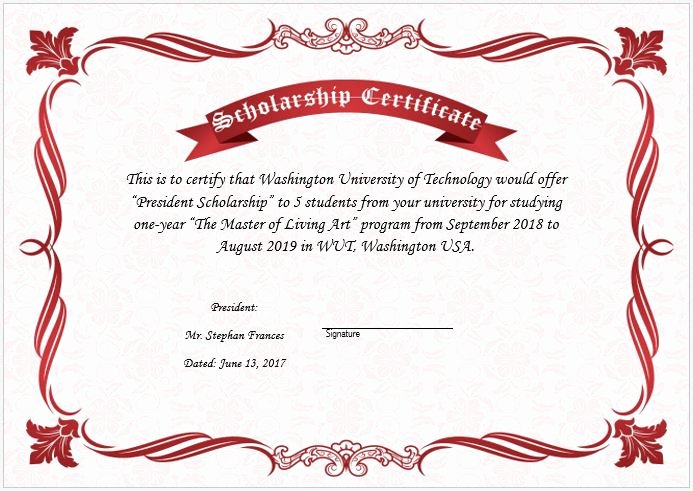 Formats for Scholarship Certificates Lovely Scholarship Award Certificate Template