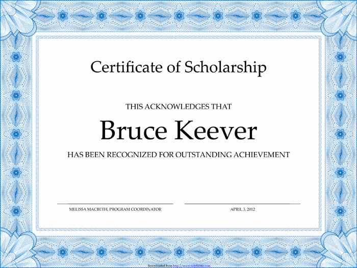 Formats for Scholarship Certificates Unique 43 Stunning Certificate and Award Template Word Examples