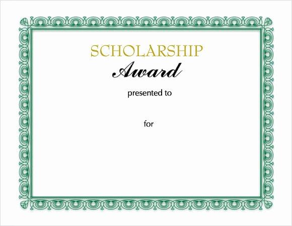 Formats for Scholarship Certificates Unique Free 9 Scholarship Certificate Templates In Free Samples