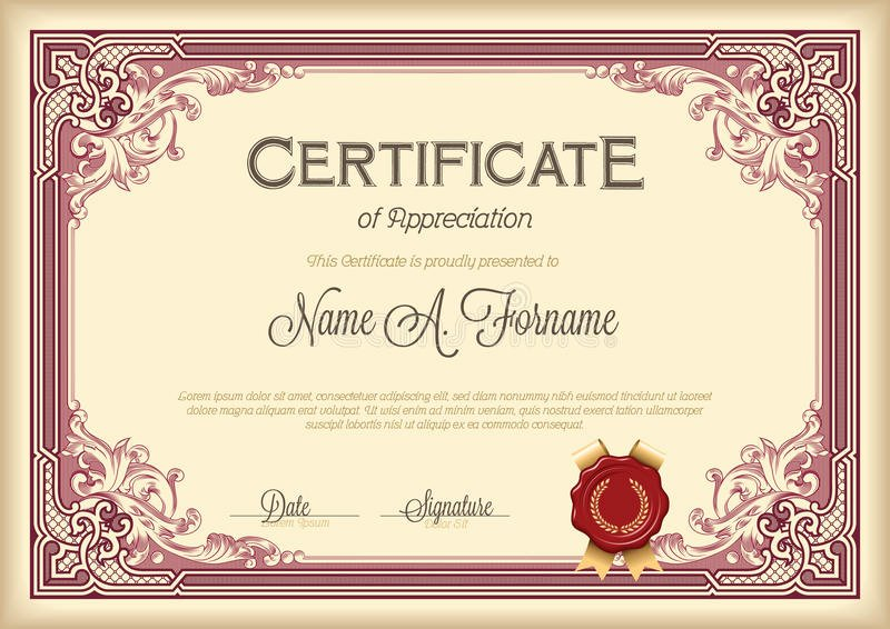 Frame for Certificate Of Appreciation Best Of Certificate Appreciation Vintage Floral Frame Stock