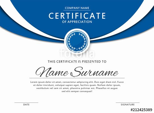 "Frame for Certificate Of Appreciation Inspirational ""certificate Template In Elegant Blue Color with Medal and"
