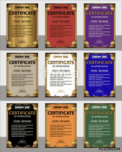"Frame for Certificate Of Appreciation Luxury ""set Certificate Of Appreciation Vertical Template Gold"