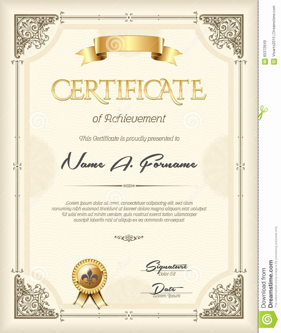 Frame for Certificate Of Appreciation New Certificate Recognition Vintage Frame Portrait Stock