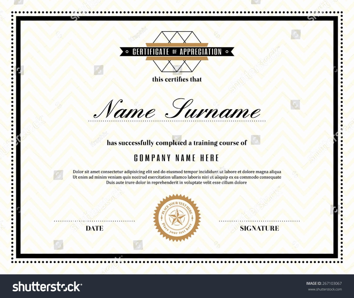 Frame for Certificate Of Appreciation New Retro Frame Certificate Appreciation Design Template Stock
