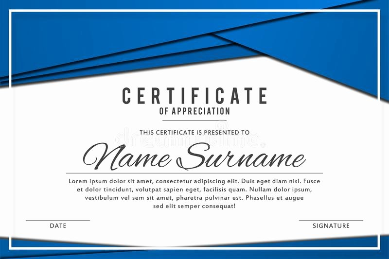 Frame for Certificate Of Appreciation Unique Certificate Template In Elegant Black and Blue Colors