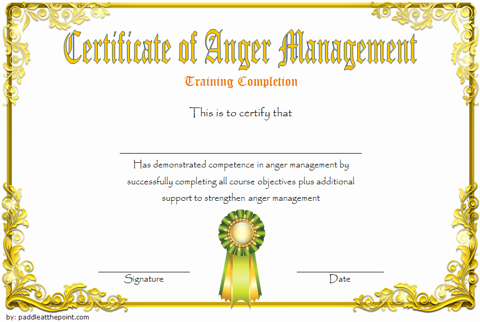 Free Anger Management Certificate Template Awesome Anger Management Certificate Template [10 Amazing Designs]