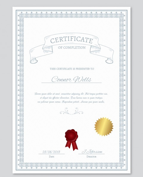 certificate of pletion templates