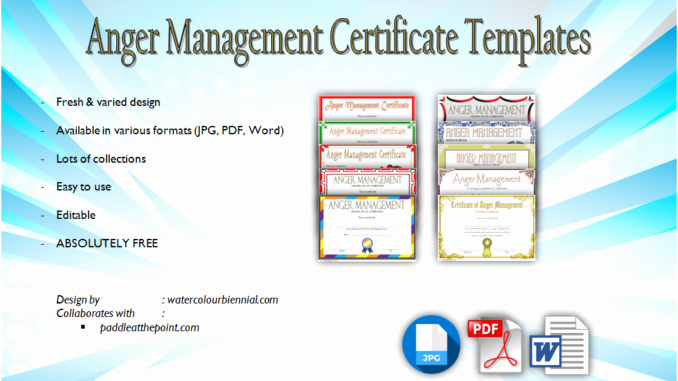 Free Anger Management Certificate Template Lovely Anger Management Certificate Template [10 Amazing Designs]