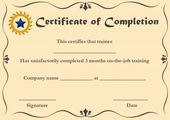 Free Anger Management Certificate Template Luxury Ojt Certificate Of Pletion Sample format