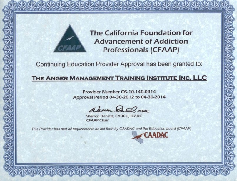 Free Anger Management Certificate Template New $65 16 Hour Anger Management California Foundation for