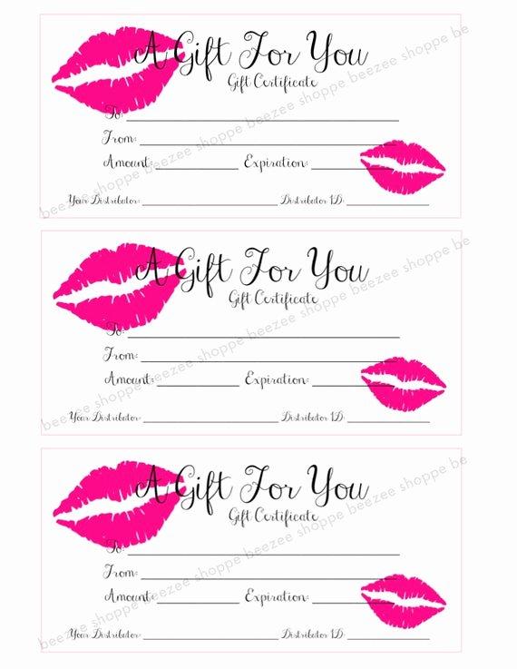 Free Avon Gift Certificate Template Beautiful Printable Gift Certificate Lipsense Senegence Gift Card
