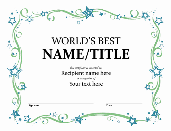 Free Award Templates for Teachers Awesome World S Best Award Certificate