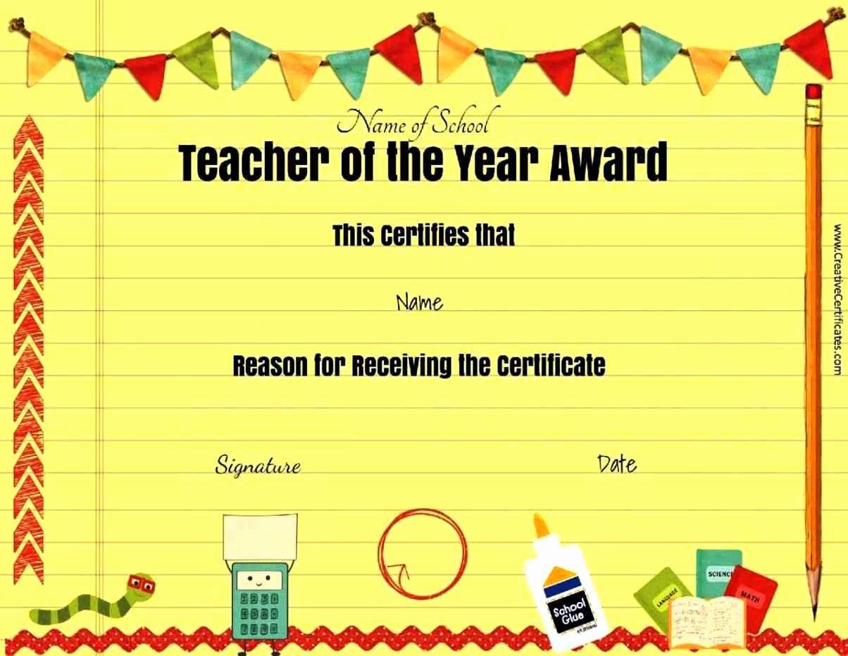 Free Award Templates for Teachers Fresh Best Teacher Awards Template Update234 Template