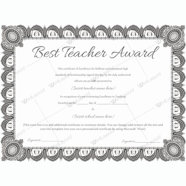 Free Award Templates for Teachers Inspirational Best Teacher Award 08