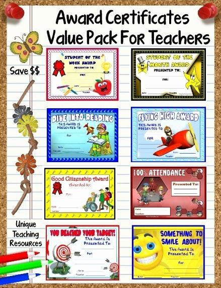 Free Award Templates for Teachers Lovely 66 Printable Award Certificates Value Pack for School