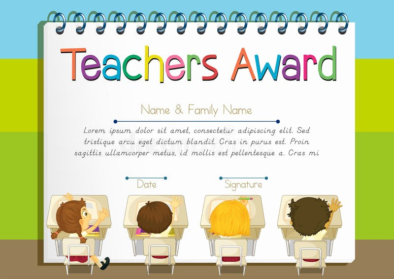 Free Award Templates for Teachers New Certificate Template for Teachers Award Stock Vector