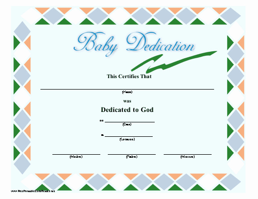 Free Baby Dedication Certificate Download Beautiful A Green Blue orange and White Bordered Baby Dedication