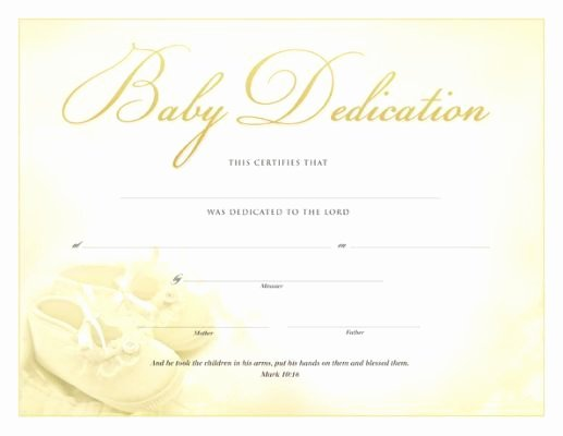 Free Baby Dedication Certificate Download Fresh Printable Baby Dedication Certificate