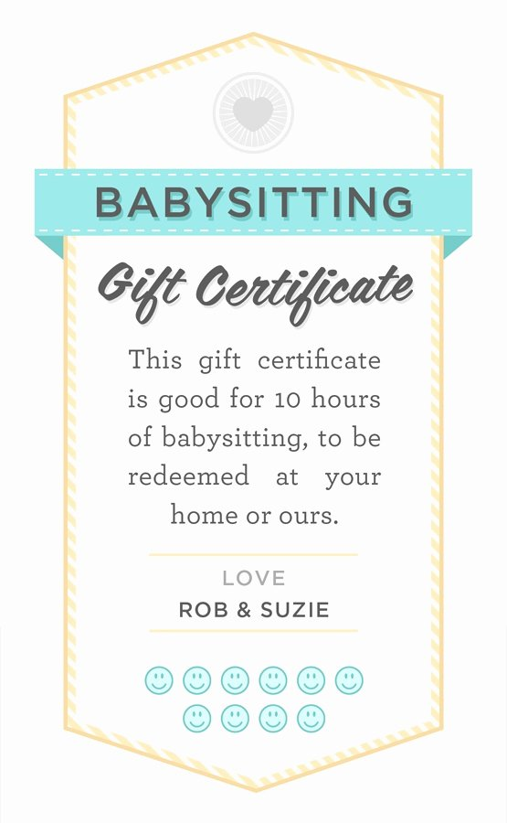 Free Babysitting Certificate Template Awesome Babysitting T Certificate Fully Customizable