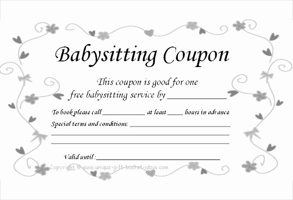 Free Babysitting Certificate Template Fresh 12 Baby Sitting Coupon Templates Psd Ai Indesign