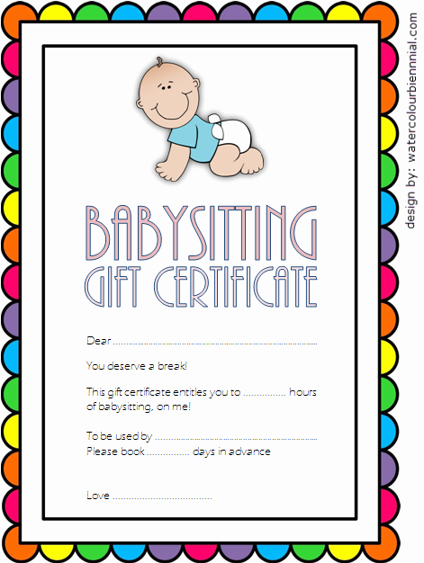 Free Babysitting Certificate Template Lovely Babysitting Gift Certificate Template Free [7 New Choices]