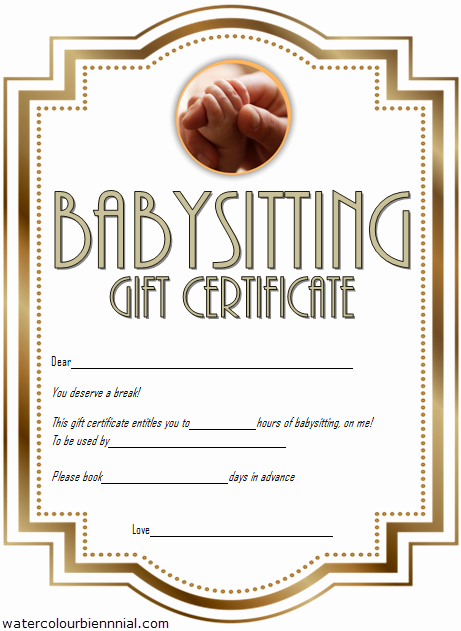 Free Babysitting Certificate Template New Babysitting Gift Certificate Template Free [7 New Choices]