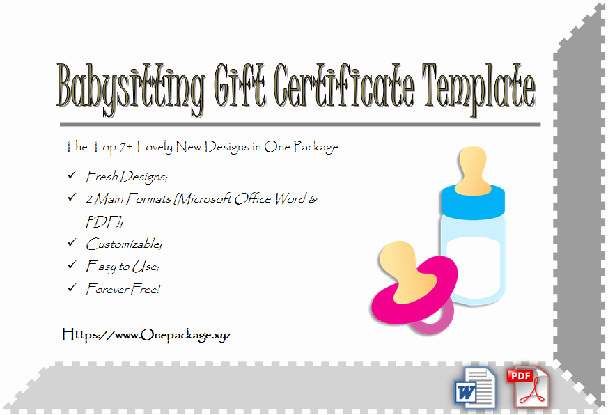 Free Babysitting Certificate Template Unique Free 7 Babysitting Gift Certificate Template Ideas for