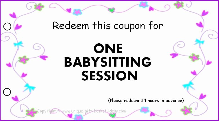 Free Babysitting Certificate Template Unique Free Babysitting Coupons Printable Pinned by