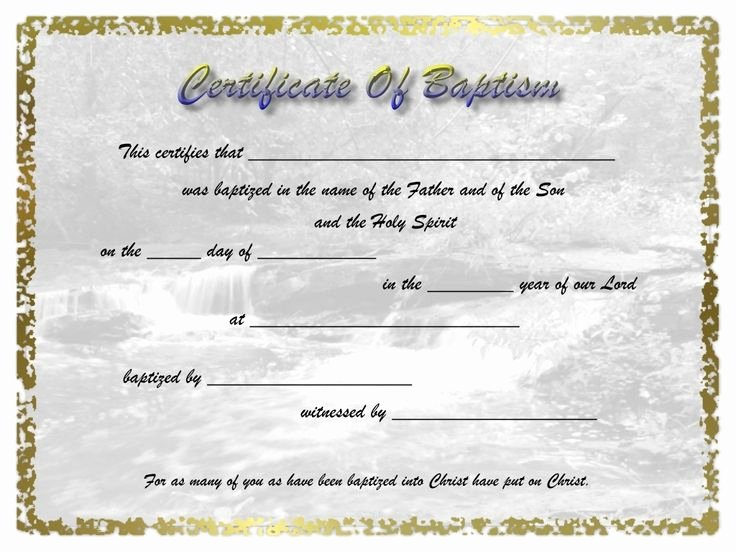 Free Baptism Certificate Template Fresh Adult Baptism Certificate Template