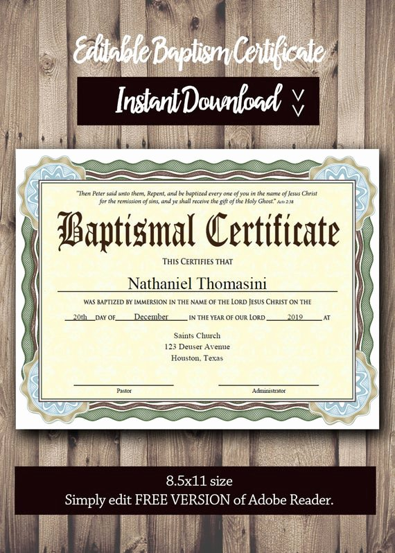 Free Baptism Certificate Template Inspirational Editable Baptism Certificate Template Pdf Adobe Reader