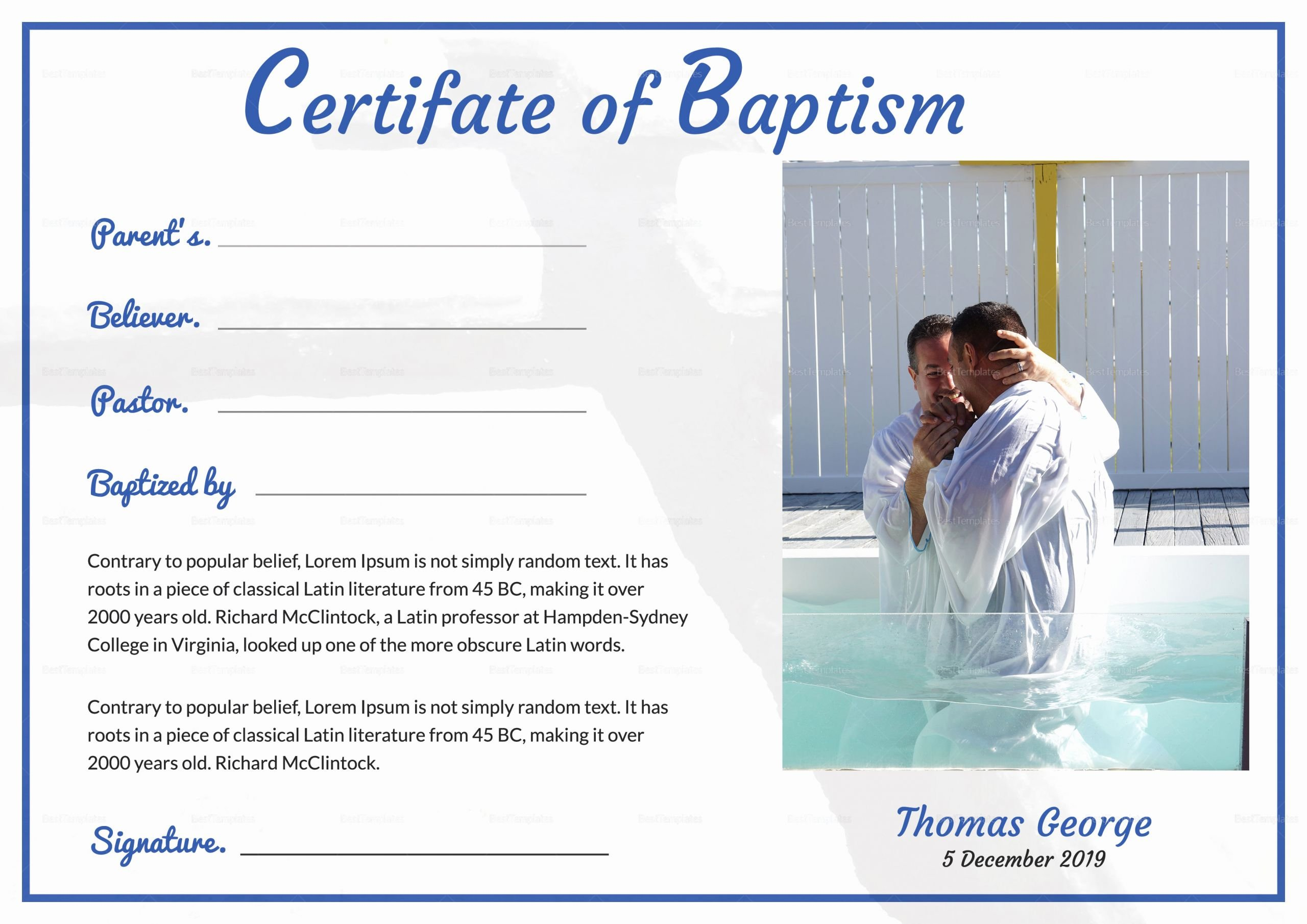 Free Baptism Certificate Template Word Luxury Adult Baptism Certificate Template In Adobe Shop