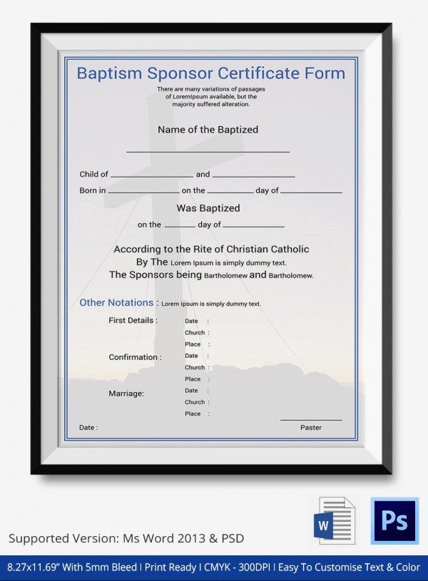 Free Baptism Certificate Template Word New Baptism Certificate 12 Free Word Pdf Documents